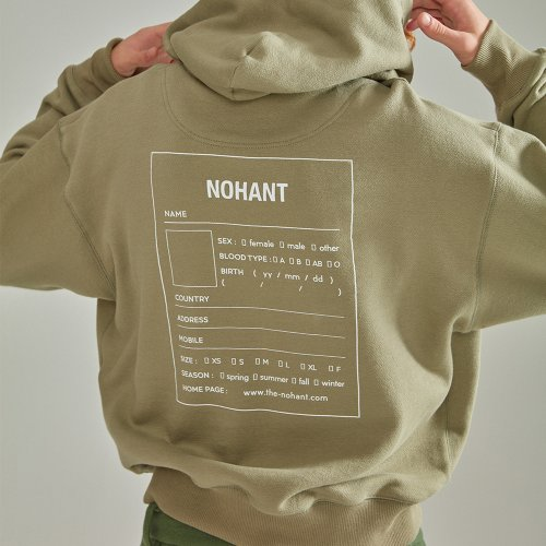 [NOHANT] OVERSIZED NAME LABEL HOODIE KHAKI