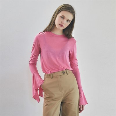 [로지에] 19spring long sleeve ruffle T-shirts pink (2082093)