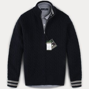 [FOREST CAMP]Lambswool Zip-Up Cable Cardigan/램스울 집업 케이블 가디건/~4XL[FCSW8404-Navy]best quality