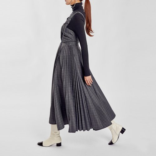 / cheky pleats jumper skirt