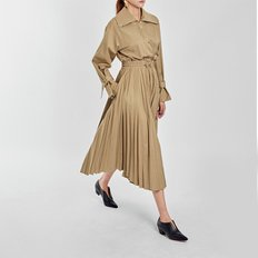 / pleated trench dress