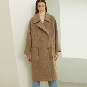 [룩캐스트] BROWN CHECK LONG DOUBLE WOOL COAT (3524588)