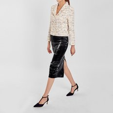 / faux-leather pencil skirt