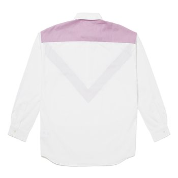 V SWITCHED PULLOVER SHIRT WHITE
