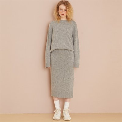 [룩캐스트] GREY CASHMERE WOOL KNIT SKIRT (1951453)