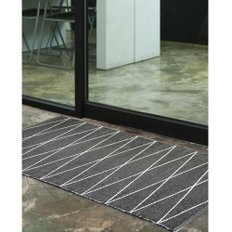 PVC hand made rug black 70x200cm