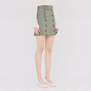 [가브리엘리] 19SS BUTTON-FRONT MINI SKIRT WITH BELT - GREEN