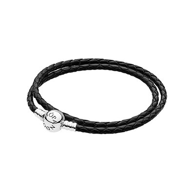PANDORA 판도라 590745CBK Braided DOUBLE LEATHER 팔찌
