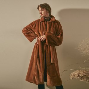 SOFT FUR ROBE LONG COAT_CAMEL