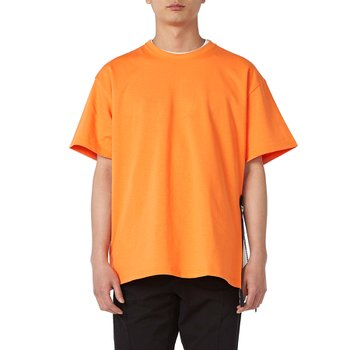 SIDE ZIP BIG TEE ORANGExBLACK