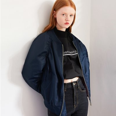 SHIRRING BOMBER JP (NAVY)