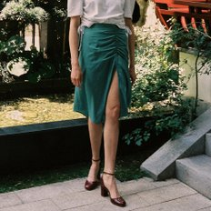 [레이브] Shirring Midi Skirt in green_VW9AS0620