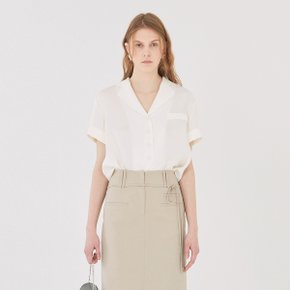 [가브리엘리] 19SS SHORT-SLEEVED V-NECK BLOUSE - CREAM
