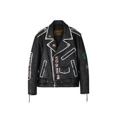 CUSTOM HANDMADE VINTAGE LEATHER JACKET awa003u(Black / White)