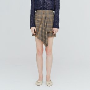 [가브리엘리] 19FW ASYMMETRICAL FRONT MINI SKIRT - BROWN CHECK