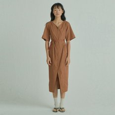 X U layered Dress [Brown]