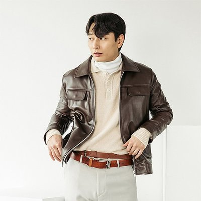 LAMB SKIN POCKET LEATHER JACKET [BROWN] (2070636)