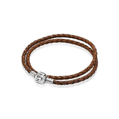 판도라 590705CBN / PANDORA DOUBLE LEATHER BANGLE