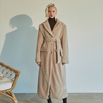 [DEANS] FUR LONG SINGLE COAT_LIGHT BEIGE