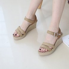 kami et muse Mesh strap wedge heel sandals_KM19s211