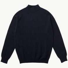LAMBSWOOL FUNNEL NECK DARK NAVY MOULINE