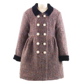 Tweed Velvet Trim Skating Coat