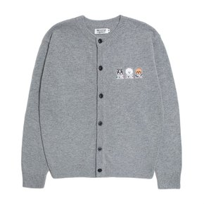 APOLLO COLLECTION CREW LOGO ROUND KNIT CARDIGAN GRAY (S5874162)