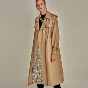 LEATHER DOUBLE TRENCH COAT_BEIGE