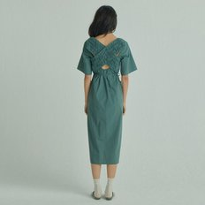 X U layered Dress [Dark Green]