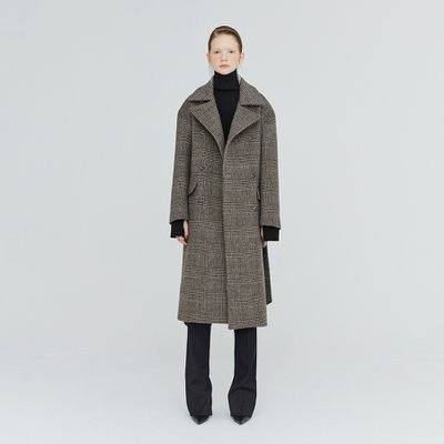 [가브리엘리] 19FW OVERSIZED CHECK DOUBLE-FACED WOOL COAT - DARK BROWN CHECK