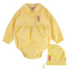 Rabbit baby yellow gingham check bodysuit set BP9116231