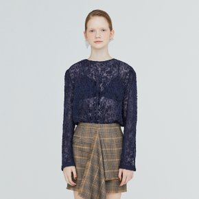 [가브리엘리] 19FW SHEER FIL COUP? BASIC BLOUSE - NAVY