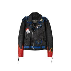 CUSTOM HANDMADE VINTAGE LEATHER JACKET awa002u(Black / Red)
