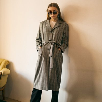Checked Tailored Coat - Grey