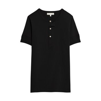 메르츠비슈바넨 207 HENLEY SHORT SLEEVE DEEP BLACK