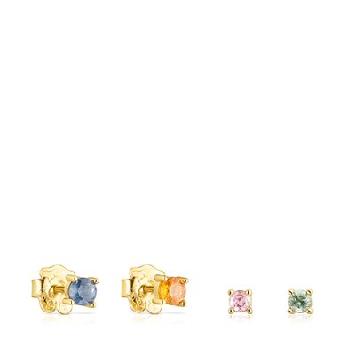 [최초출시가 219,000원]Pack of Silver Vermeil Glaring Earrings with multicolored Sapphires/귀걸이/018143590