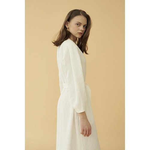 [20%할인적용가]stitch linen dress_white