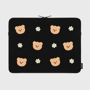 Dot flower bear-black-15inch notebook pouch