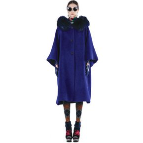 HOODED RACOON FUR CAPE COAT