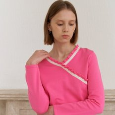 [20%할인가][엽페]V SHIRRING KNIT_PINK