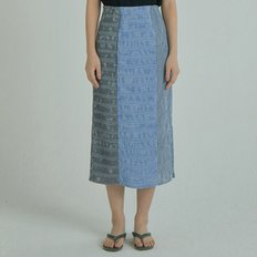 Check Wrinkle Skirt - Blue