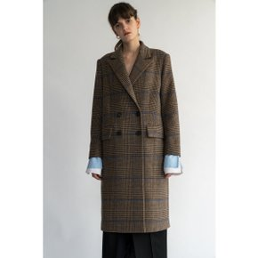 Glen Big Check Wool Coat /Brown