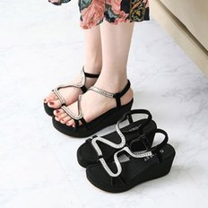 kami et muse Glittering beads strap wedge sandals_KM18s382