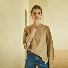 boat-neck cotton shirt (beige)
