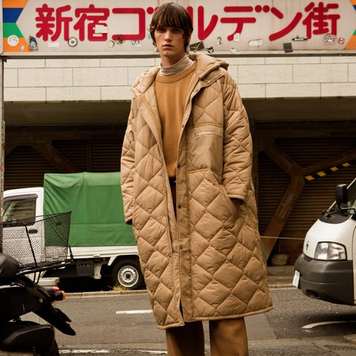 UNISEX ALEXON INSIDE OUT QUILTED HOOD COAT awa180u(Beige)