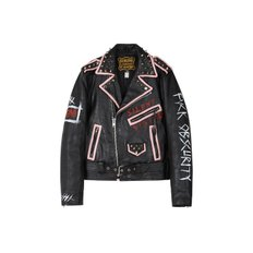 CUSTOM HANDMADE VINTAGE LEATHER JACKET awa002u(Black / Pink)