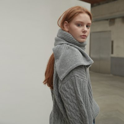 Two way wool pullover [muffler set] [GY]