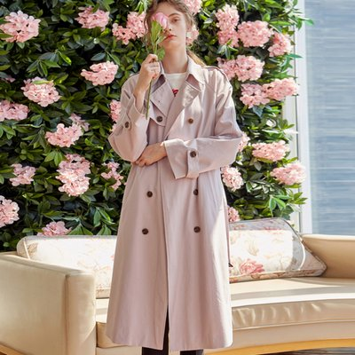 DOUBLE LONG TRENCH COAT_LIGHT PINK (2222659)