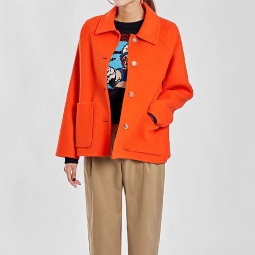 / (SALE) Orange handmade coat