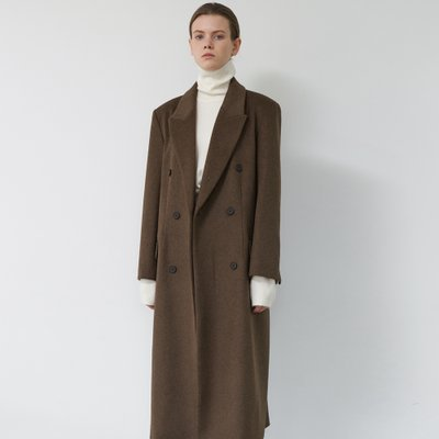 Double breastde Tailored Wool Coat (Brown)